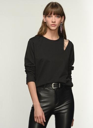 NGSTYLE NGKAW21SW0008 Zincir Detaylı Swaeatshirt Siyah